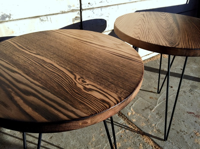 Torched Oak Circle Accent Tables Ambrose Woodworks